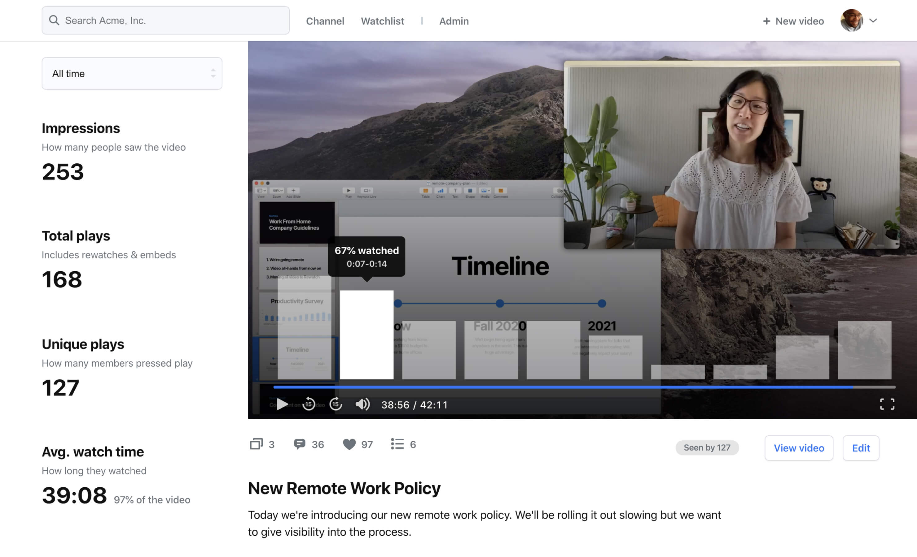 A screenshot showing how you can search you video transcripts in Rewatch.